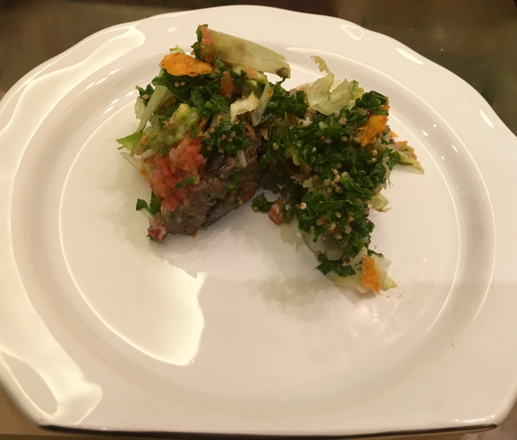 Black bean cutlet with Kale and Quinoa salad in Mexican style